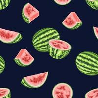 Realistic watermelon pattern vector