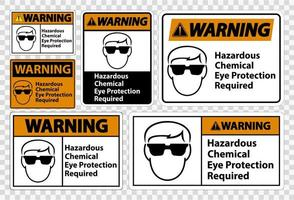 Warning Hazardous Chemical Eye Protection Required Symbol Sign vector