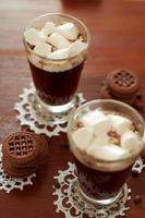 Coffee cocktails with cream and  marshmallows