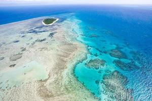 Aerial shot of Great Barrier Reef from helicopter