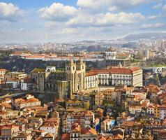 Roofs of old city and The Porto Cathedral in Porto photo