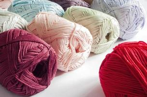 Colours of yarns in white background
