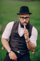 bearded man vaping