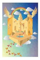 Birds are moving on flying rainbow castle