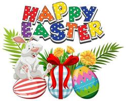 Polka Dot Easter White Rabbit and Painted Eggs vector