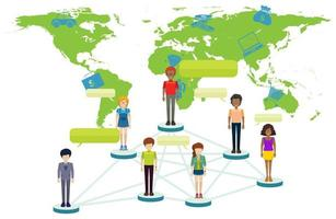 Infographic with People on World Map