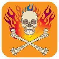 Skull flame icon orange vector