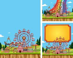Three Backgrounds of Circus with Rides vector