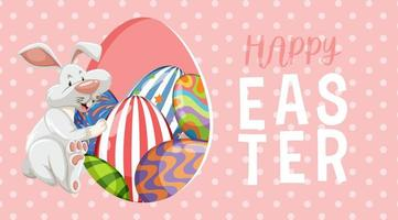 Pink, White Polka Dot Easter Background with Rabbit and Eggs