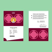Pink Round Shape Simple ID Card Template