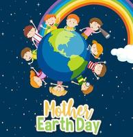 Poster for Mother Earth Day with Happy Kids Around Earth vector