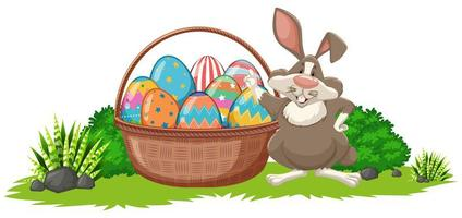 Easter Background with Rabbit and Basket Full of Eggs
