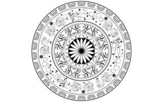 estilo circular de mandala de flor preto e branco vetor