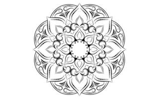 Black and white floral mandala pattern vector