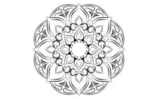 padrão de mandala floral preto e branco vetor