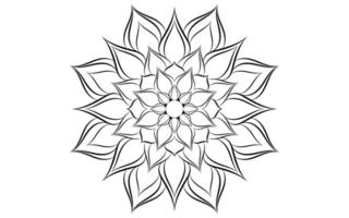 Black and white floral simple mandala pattern vector