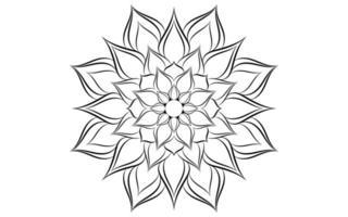 padrão de mandala simples floral preto e branco vetor