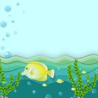 Yellow Fish Swimming Underwater vector