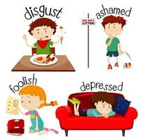 Set of Kids Expressing Different Feelings vector