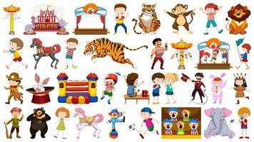Circus Animals and Clowns Set vector