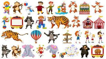 animales de circo, niños, payasos en blanco vector