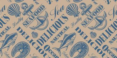 Seamless background for seafood theme vector