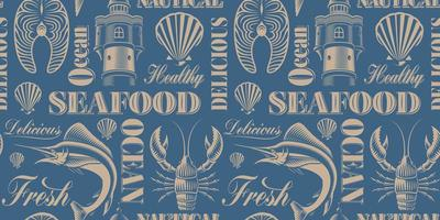 Multicolor Seamless  seafood background vector