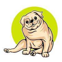 lindo bulldog sentado vector