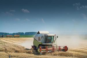 Working Harvesting Combine