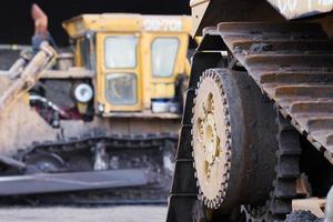 Close up  bulldozer in construction site photo