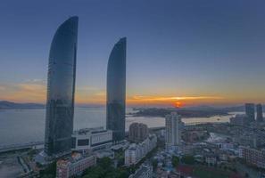 Xiamen shimao strait building at dusk photo