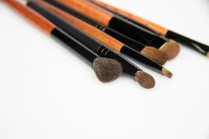 set of make up brushes on white background
