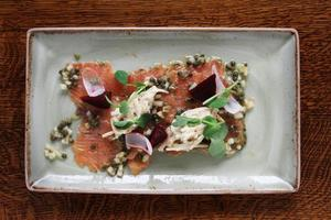 gravlax salmon plated meal
