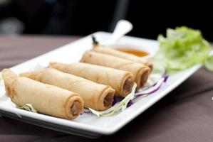 Golden brown deep-fried spring rolls
