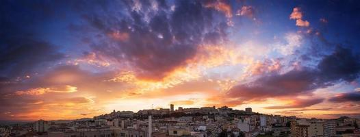 Panoramic sunset on Cagliari skyline