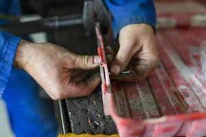 Industrial worker at workshop photo