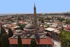 Suleiman Mosque of Rhodes Landmark with roofs, minaret photo Greece