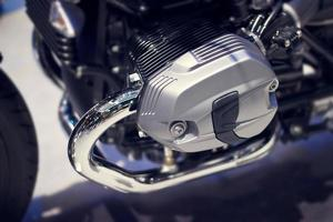 Chrome modern motorcycle engine close-up