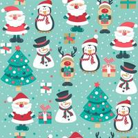 Christmas Seamless Pattern with Reindeer and Snowmen vector