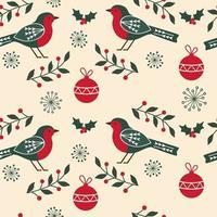 Seamless Christmas Robins Pattern  vector
