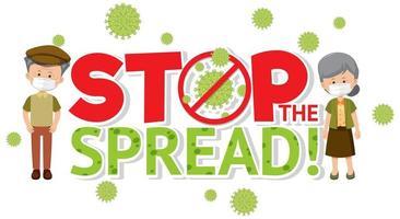 arrêter la propagation du coronavirus avec un couple de personnes âgées vecteur
