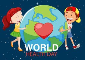 World health day with two kids around earth  vector
