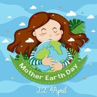 diseño del día de la madre tierra con mujer abrazando la tierra vector