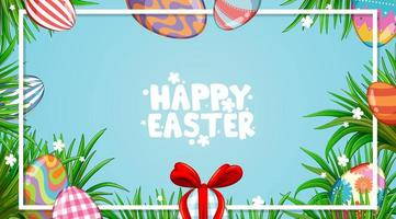 Easter design with decorated eggs and green grass vector