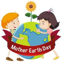 Mother earth day poster with happy kids hugging earth