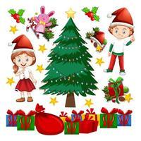 elementos de niños y árboles de navidad