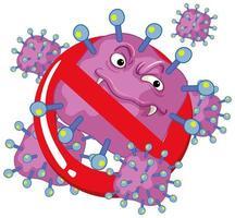 singola cellula virale viola con faccia spaventosa