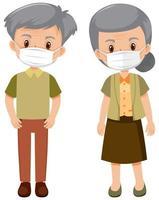 personnes âgées portant des masques vecteur