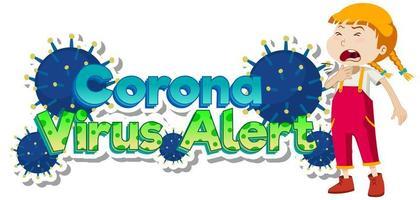 tema de alerta de coronavírus com tosse de menina doente