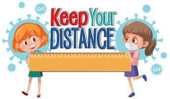 mantenga su distancia para evitar el diseño de coronavirus vector